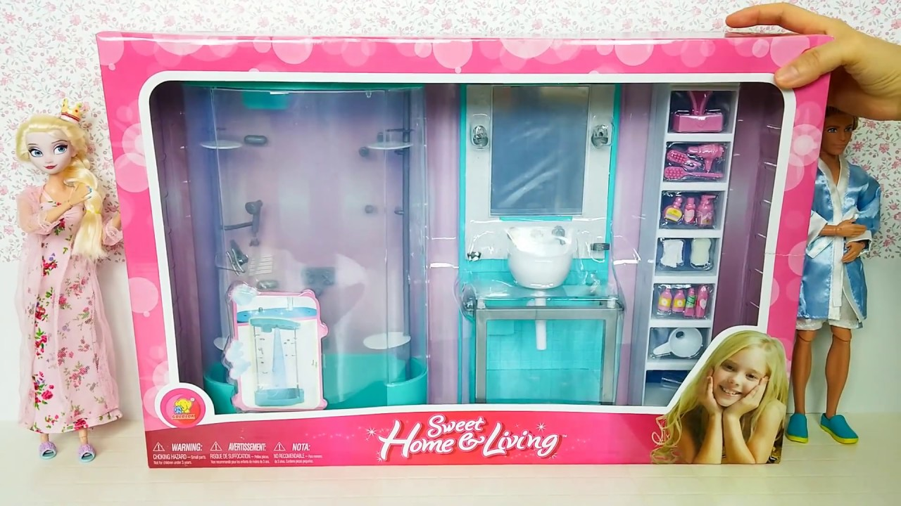 Frozen Bathroom Frozen Queen Elsa Doll Barbie New Sky Blue Bathroom Playset Unboxing Review