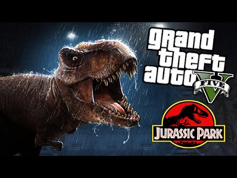 GTA 5 Mods - JURASSIC WORLD T-REX ATTACK MOD! (GTA 5 Mods Gameplay)