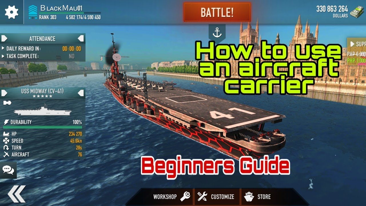 How to use an Aircraft Carrier in Battle of Warships: Naval Blitz (Beginners Guide) - YouTube