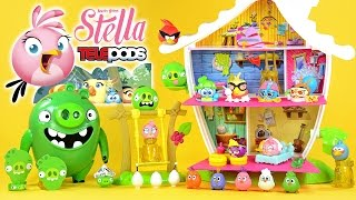 Angry Birds Stella Telepods Tree House Playset w/ Luca & Poppy vs Piggies plus Gale Dahlia & Willow