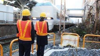 最速130キロの列車接近を体感 JR西日本が研修設備を公開