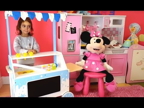 Thumbnail: Minnie Mouse ICE CREAM Cart / Pretend Play Wooden Food Popsicles & Ice Cream Cones