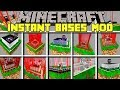 Minecraft INSTANT BASES MOD l SPAWN INSTANT UNBREAKABLE BASES! l Modded Mini-Game