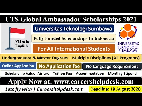 UTS Global Ambassador Scholarships 2021 in Indonesia | BS/MS | Fully Funded | Video in English
