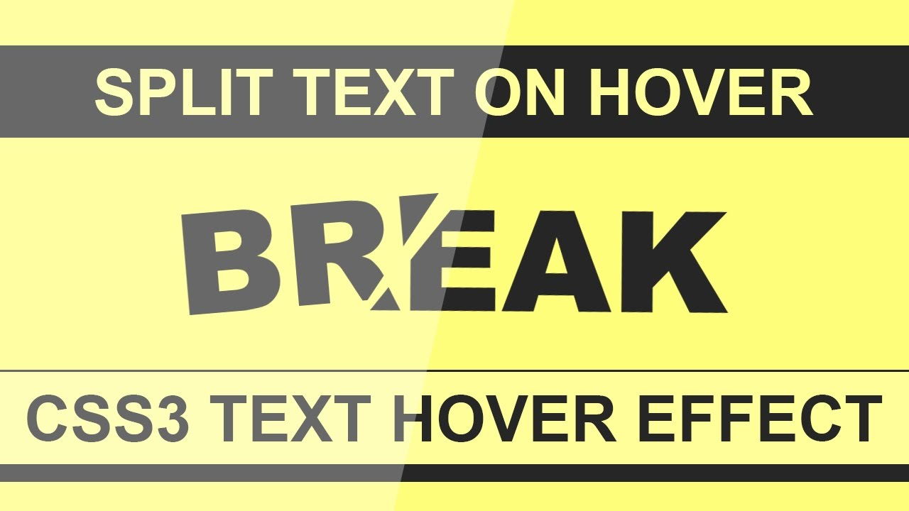 Split Word On Hover - Html5 Css3 Hover Effect - Pure CSS Tutorial