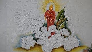 Aprenda a Pintar, Vela, Folhas e Fundo ( Tema Natalino Parte 1 )