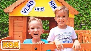 블라드와 니키타는 나무 플레이 하우스 구축