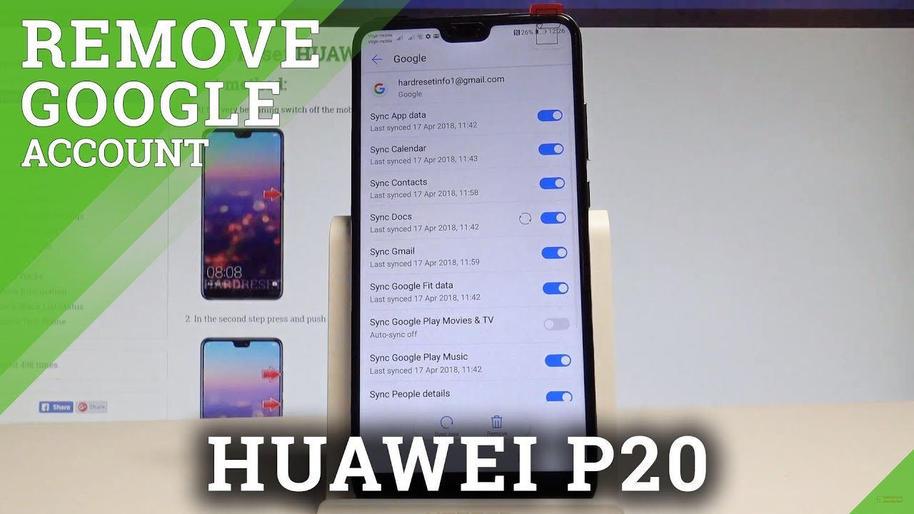 How to Remove Google Account from HUAWEI P20 - Delete Google Account  |HardReset Info
