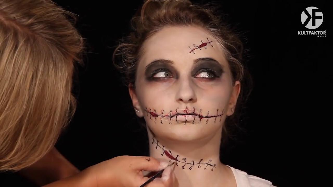 Schminken Zu Halloween Spannendes Nahtgesicht Schminken Leicht