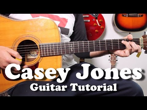 Grateful Dead - Casey Jones - Acoustic Guitar Tutorial with riff, tabs, lyrics, play-along