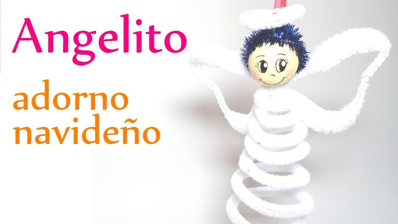 Manualidades para navidad angelito de limpia pipas - Adorno de navidad manualidades ...