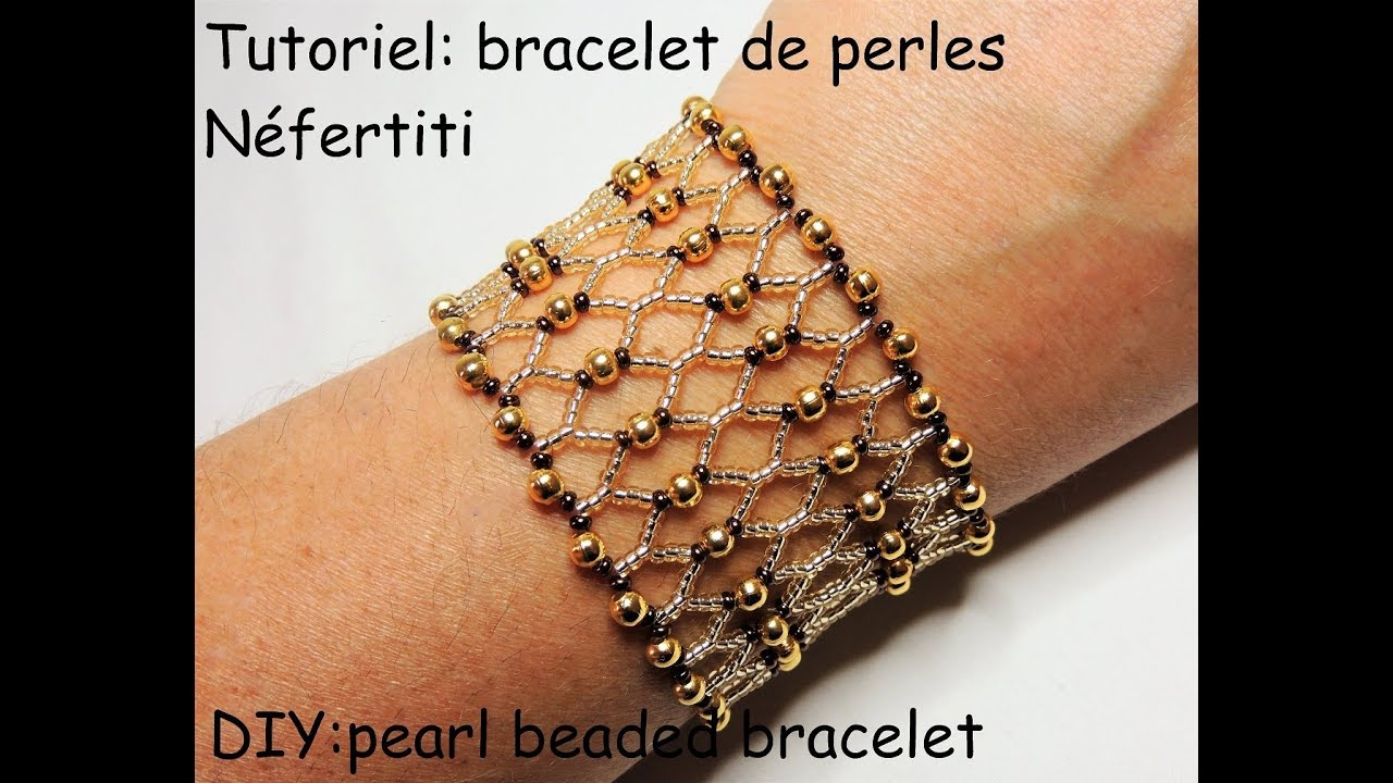 "Super Tutoriel: bracelet de perles ""Néfertiti"" (DIY: pearl beaded  WS93"