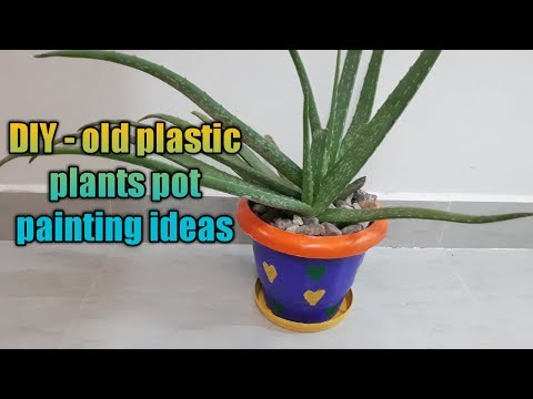 DIY – old plastic plants pot painting ideas/very simple & easy coloring ideas