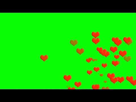Heart Rain Back Ground Green Screen