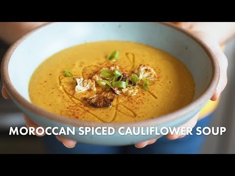 Roasted Cauliflower Oat Soup with Turmeric