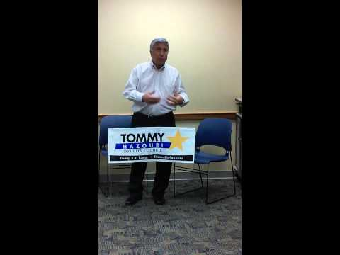 Candidate Tommy Hazouri speaking