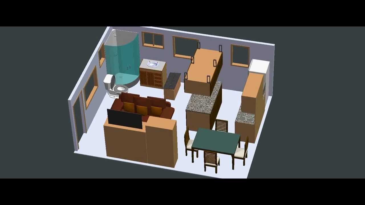 Garage conversion 15ft x 20ft layout 1 youtube for Square foot of 20x20