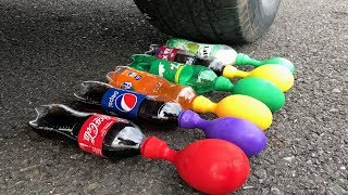 Crushing Crunchy & Soft Things by Car! CAR vs Balloons with Coca Cola Pepsi