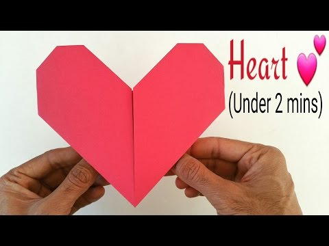 """How to make an easy paper """"💕Heart"""" under 2 minutes(A4 paper) - Valentine Origami for Beginners"""