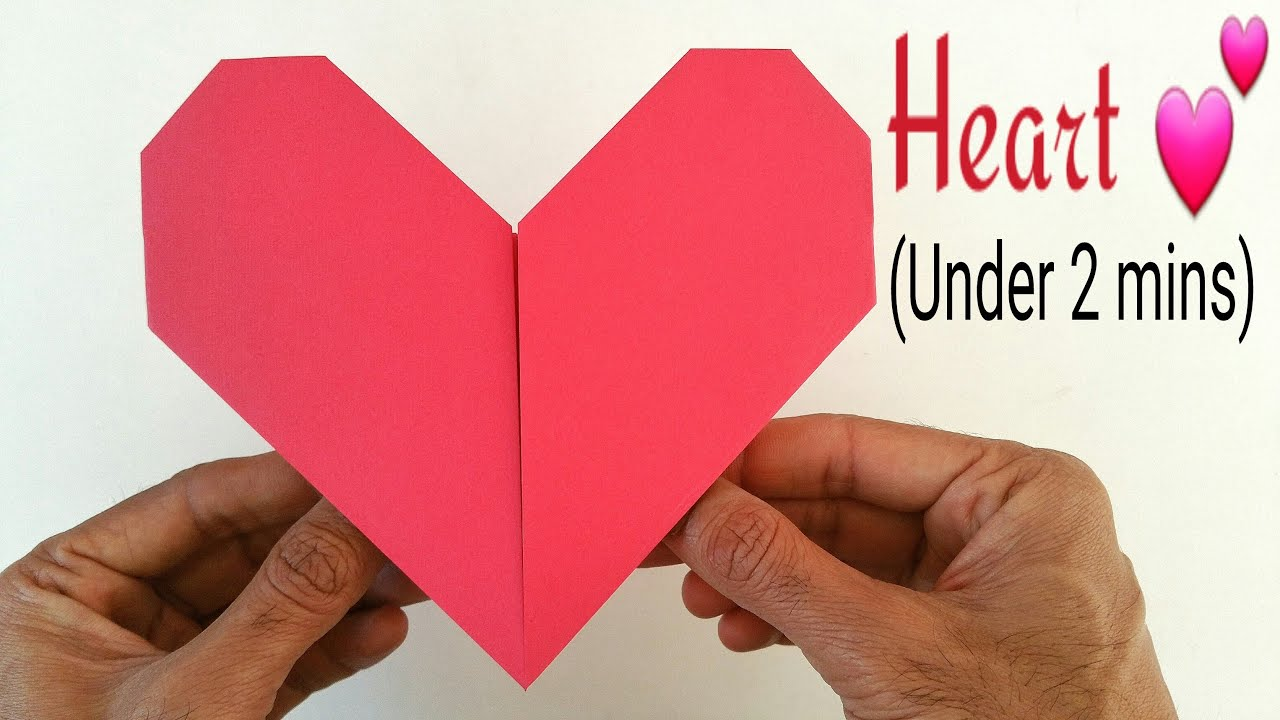 how to make an easy paper quot���heartquot under 2 minutesa4