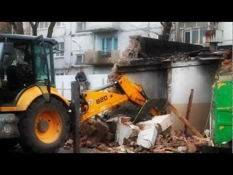 Terex 820 (экскаватор-погрузчик) демонтаж (снос) здания Таганрог Ростов и область 89515321232