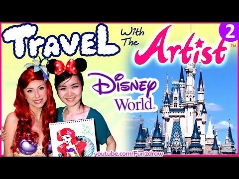 Travel Video - Artist Draw + Meet Disney Characters, Princesses + Parades - VLOG 2
