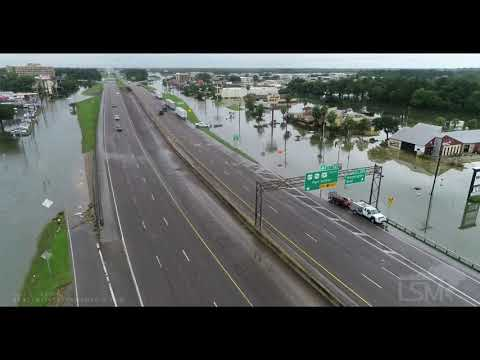 09-19-19 Beaumont, TX Aerials Of Widespread Flooding Many Buildings Flooded Roads Impassable