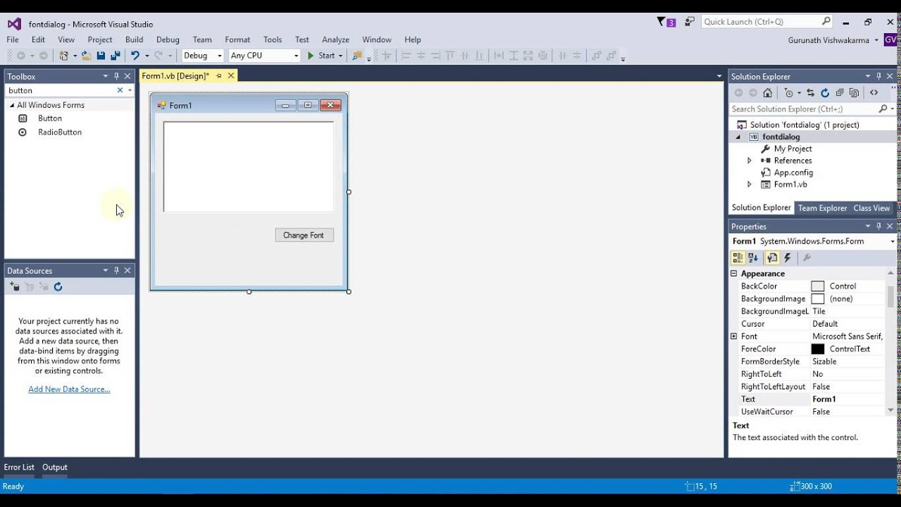 change the text font,font size and font style using font dialog in ...