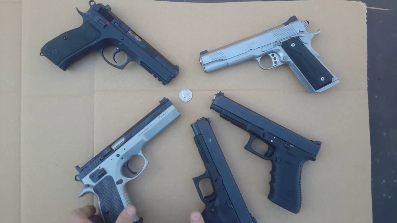 Glock 34, 35, CZ SP-01, CZ Tactical Sports & Kimber 1911   Which one can  hit a Quarter?