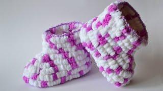Пинетки из помпоновой пряжи. Pom Pom crochet DIY