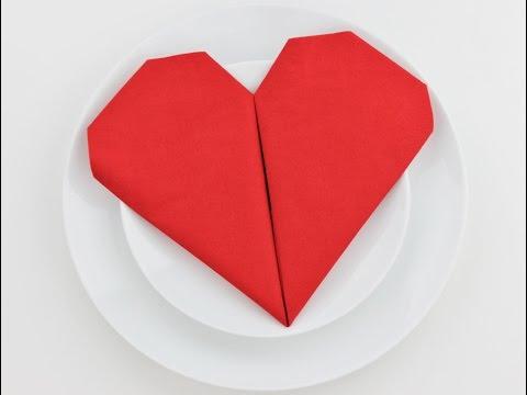 How to fold a napkin into a heart - easy napkin folding tutorial for beginners