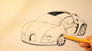 How To Draw Bugatti Veyron Step By Step|Easy+Super Sport