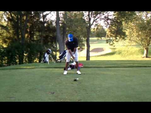 Steve Anthony hits tee shot at Royal Montreal golf club