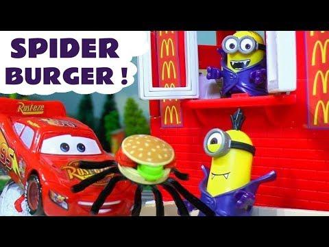 Halloween Minions McDonald's Drive Thru Trick Or Treat Menu with Cars McQueen & Spiderman TT4U