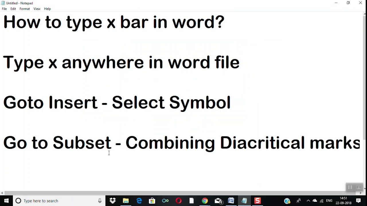 How to insert x bar symbol in Microsoft word 2007/2010