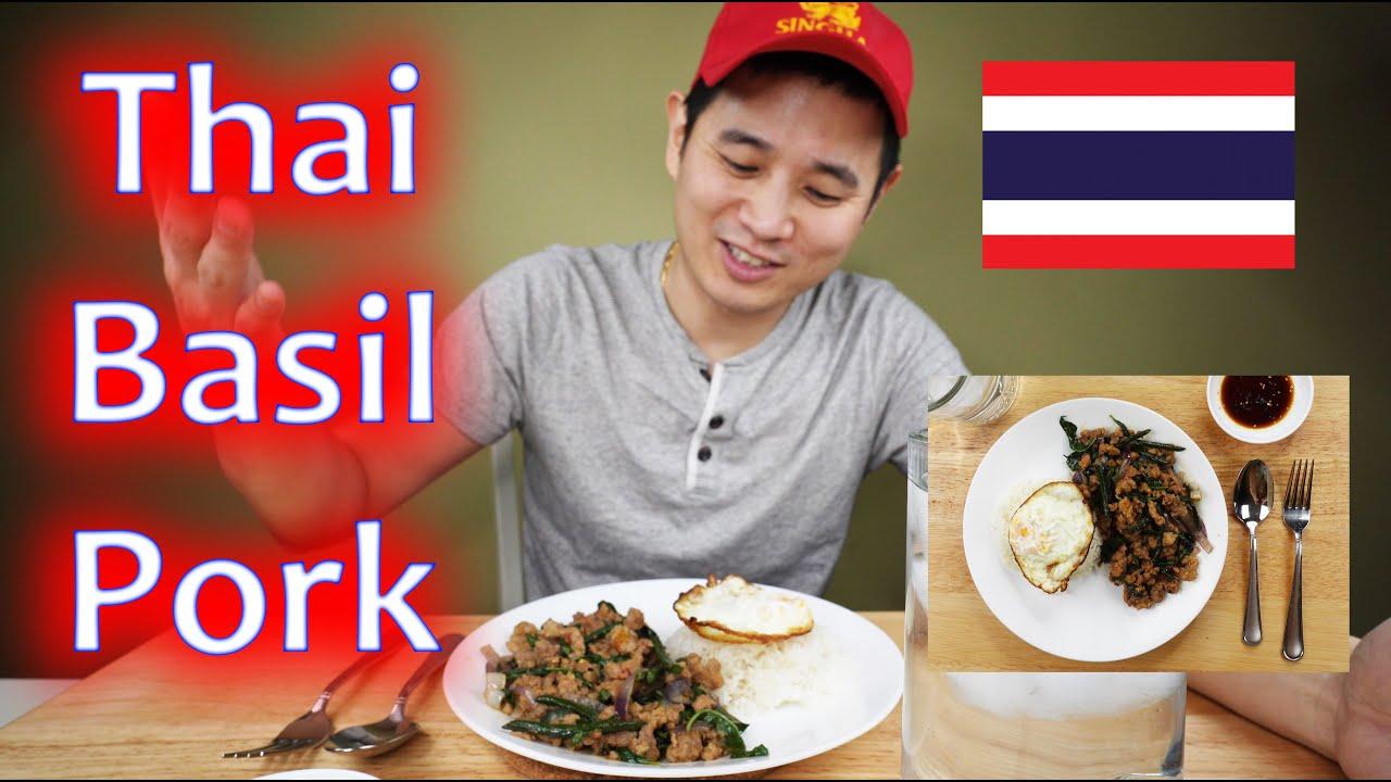Thai Spicy Basil Pork (Pad Horapa/Krapao Moo Kai Dao) - COOKBANG + MUKBANG