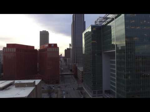 Downtown Omaha Winter Drone Footage