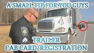 Truck Driving Tip   Trailer Cab Card/Registration