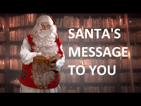 Message from Santa Claus to children and Christmas eve departure with reindeer Lapland Finland