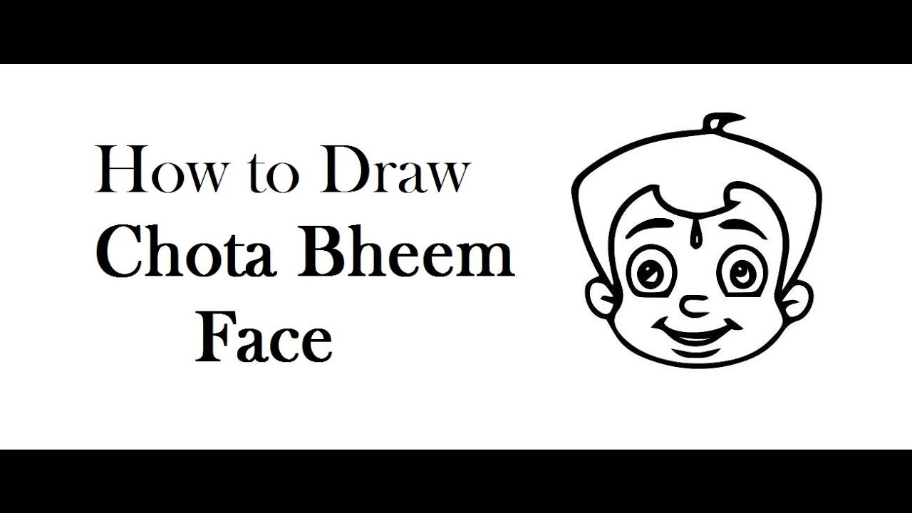 How to draw chota bheem cartoon face drawing step by step