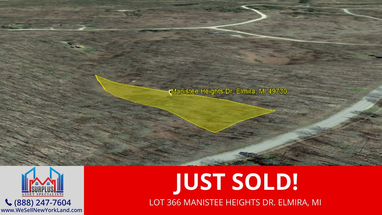 Just Sold By www.WeSellNewYorkLand.com - Lot 366 Manistee Heights Dr. Elmira, MI - Land For Sale MI