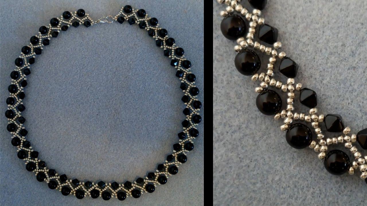 Anleitungtutorial Einfache Kette Mit Zwei Großen Perlen Im Fokus