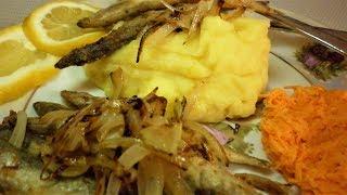 Домашний рецепт👍👍👍 РЫБА.Мойва🐋.КАртофельное пюре🥣.Морковь салат.🥕