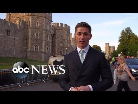 Crowds gather at Windsor Castle ahead of the royal wedding