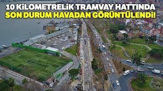Havadan Görüntülendi! Eminönü-Alibeyköy Tramvay Hattının Rayları Yerleşiyor...