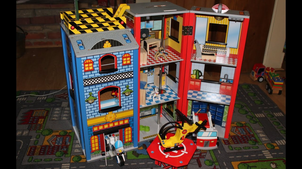 Wooden Police And Fire Station Toy Review Fire Engine Police Motorbike Helicopter