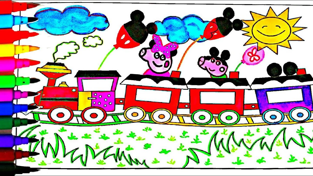 Art color book - Peppa Pig Coloring Book Pages Peppa S Mickey Mouse Train Kids Fun Art Videos Kids Balloons Toys