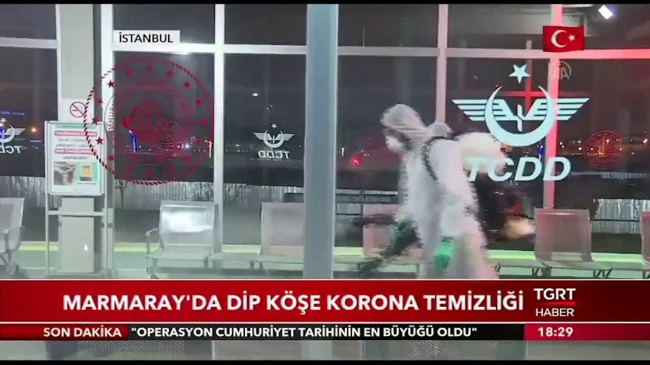 TGRT: Marmaray'da Dip Köşe Korona Temizliği #TCDD #Marmaray #corona