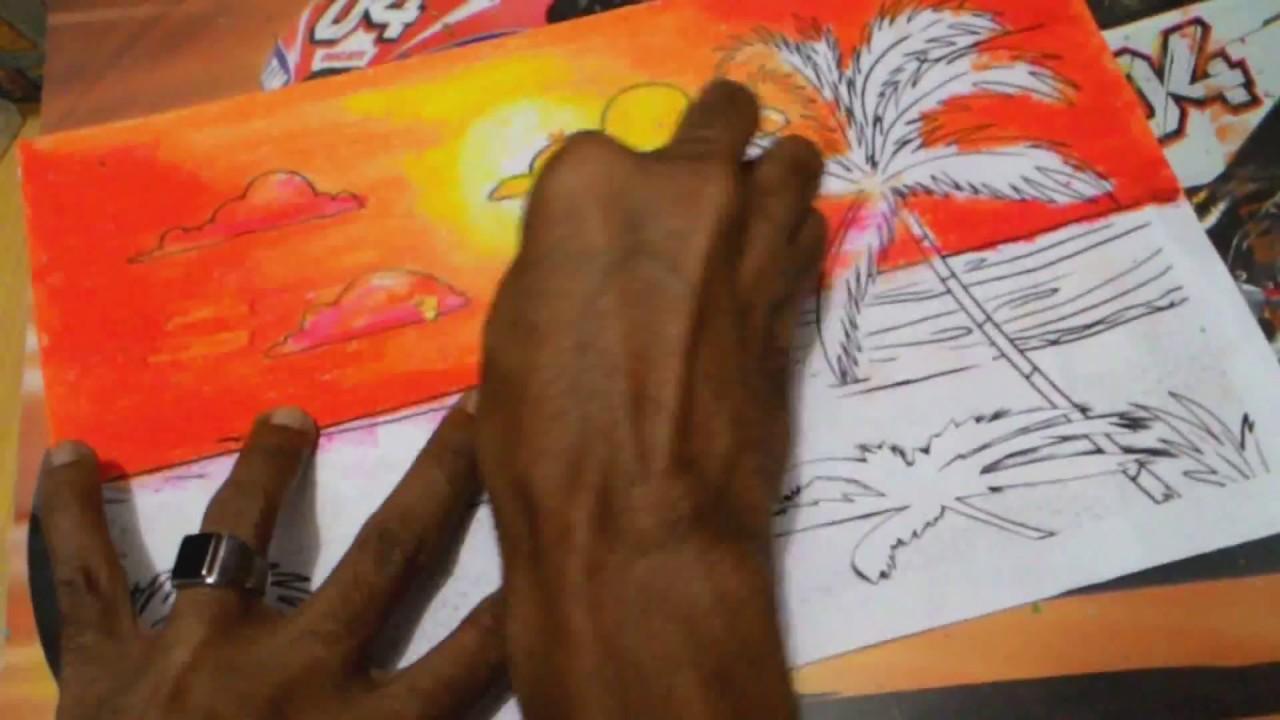 Belajar Mewarnai Matahari Terbenam Dengan Crayon