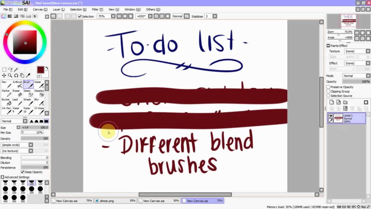 Paint Tool Sai Tutorial - Stroke Stabilizer